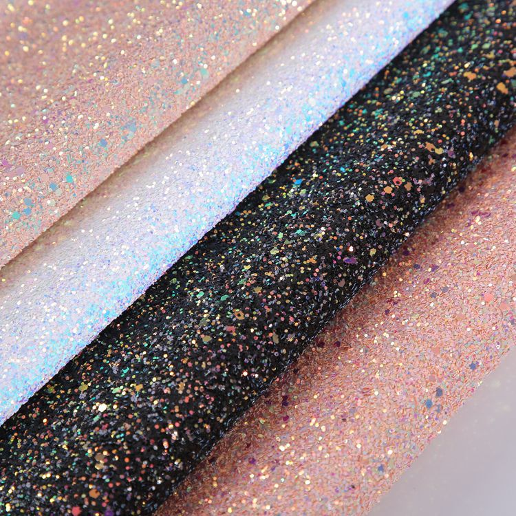 Glitter PU leather Fabric Chunky Synthetic Leather For DIY Material