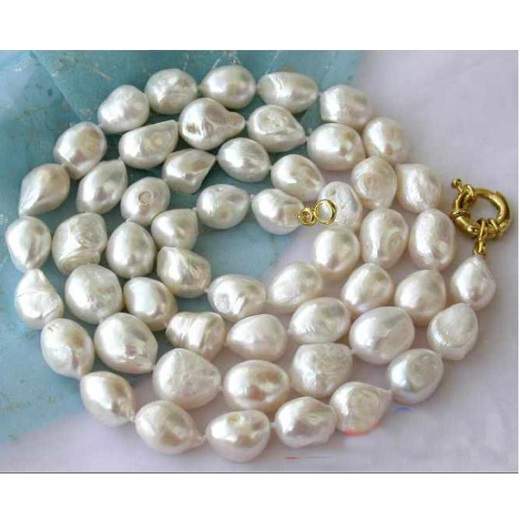 Charming Pearl Necklace,Handwork 32 11-16mm White Baroque Freshwater Pearl Necklace,Perfect Women Chirstmas Gift JewelleryCharming Pearl Necklace,Handwork 32 11-16mm White Baroque Freshwater Pearl Necklace,Perfect Women Chirstmas Gift Jewellery
