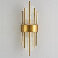 Современный художественный H60cm 110 В 220 В светодиодный Кристалл украшения латунный нержавеющий Настенный светильник Настенный бра спальня п