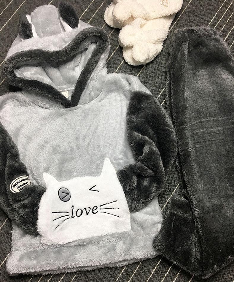 New Autumn Winter Plus size Flannel pajamas Thick Women Sleepwear Female Coral Fleece Cartoon pajama sets Cat Bear with hat