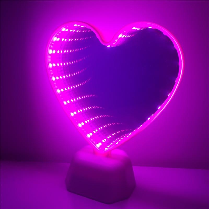 3D Unicorn Heart Pineapple Mode Mirror Battery Night Light Led Double Side Tunnel Night Lamp Kid Bedroom Decoration Led Lighting