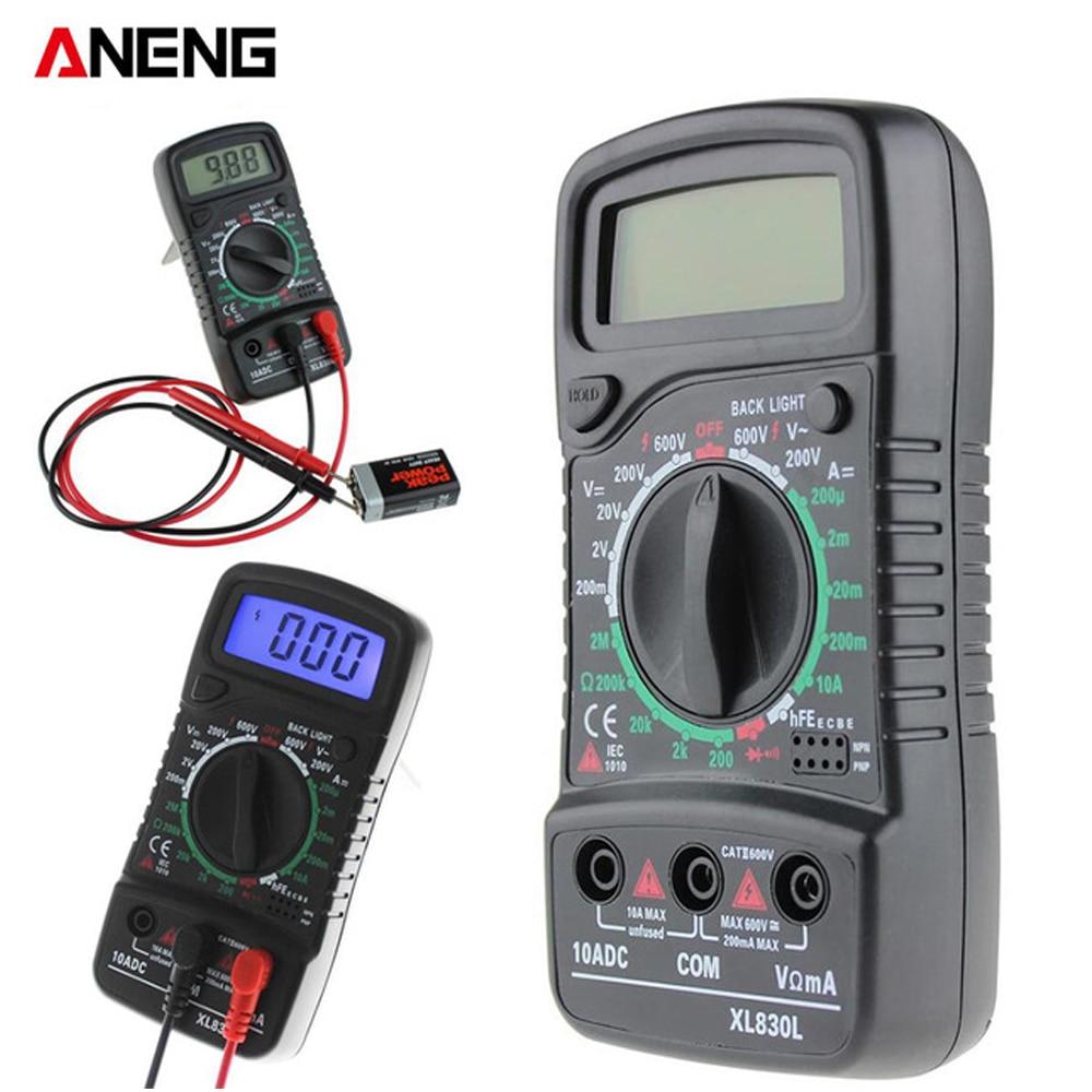 XL830L Bleu Rétro-Éclairage Numérique Multimètre Portable multi compteur AC/DC mètre de tension DC Ampèremètre résistance testeur