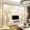 Custom 3D Print Fabric Textile Wallcoverings For Walls Matt Silk For Living Room Abstract Flowers Lotus