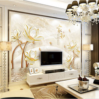 Custom 3D Print Fabric Textile Wallcoverings For Walls Matt Silk For Living Room Abstract Flowers Lotus