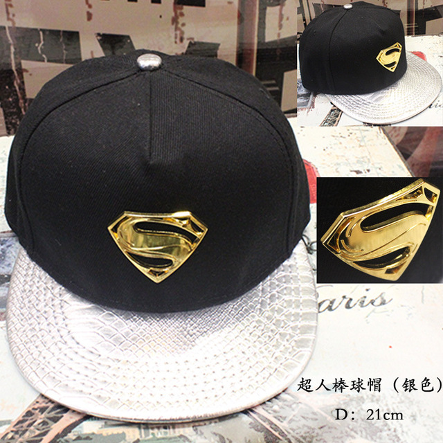 2017 movie accessories hip pop hat superman black silvery cap girls boy baseball hat friend gifts CA277