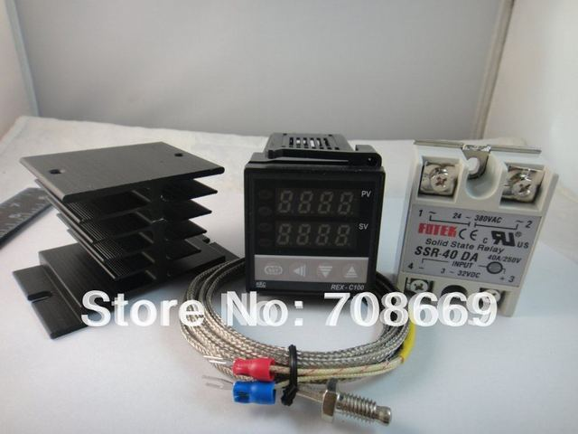100-240VAC PID Temperature controller REX-C100FK02-V*AN + max.40A SSR + heat sink + 2m quality K probe