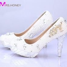 Ladies High Heel Handmade Fashion White Pearl Wedding Shoes Rhinestone 100% Designer Bridal Dress Shoes Silver Crystal Heel