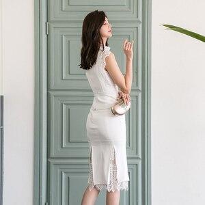 Image 5 - H Han Kraliçe Kadın Yaz 2 Adet Takım Elbise 2019 Dantel Patchwork Gömlek Üst Ve Mermaid Bodycon Etekler OL Iş Elbisesi iş Seti Yeni