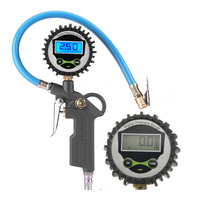 Digital Air Tire Pressure Inflator Gauge Car Truck Motorcycle Pistol Flexible Hose Pressure Gauge Dial Meter