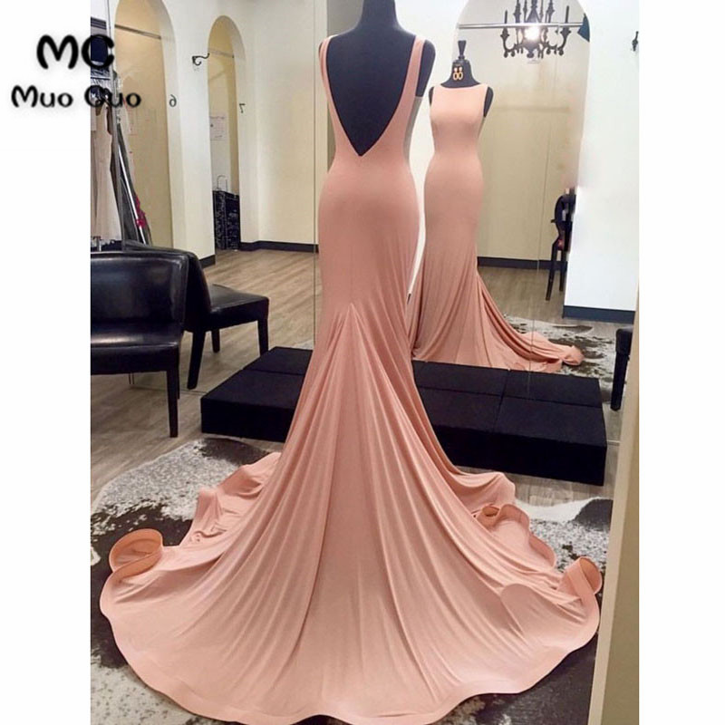 Pink 2019 In Stock Mermaid Evening Dress Backless Prom Dresses Long Sleeveless Elastic Satin Formal Evening