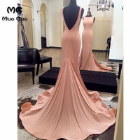 Pink 2018 Mermaid Evening Dress Backless Prom Dresses Long Sleeveless Elastic Satin Formal Evening Party Dresses