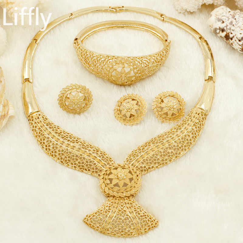 Wholesale New Fashion Element Gold Hollow Flower Necklace Jewelry Accessories Charm Bride Wedding Jewelry Sets Free Shipping