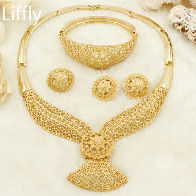 eb7606717 Wholesale New Fashion Element Gold Hollow Flower Necklace Jewelry  Accessories Charm Bride Wedding Jewelry Sets Free