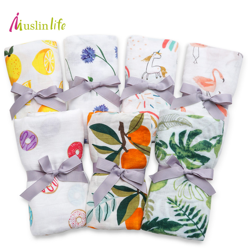 Muslinlife 2019 New Infant Baby Blanket,Newborn Baby Muslin Blanket Swaddle Bamboo Cotton,Soft Baby Bath Towel Swaddle Blankets
