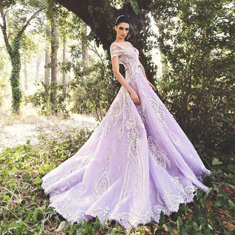 Elegant lavender wedding dresses 2017 short sleeve applique bead elegant lavender wedding dresses 2017 short sleeve applique bead vestido de noiva sweep train open back lace robe de mariage in wedding dresses from junglespirit Image collections
