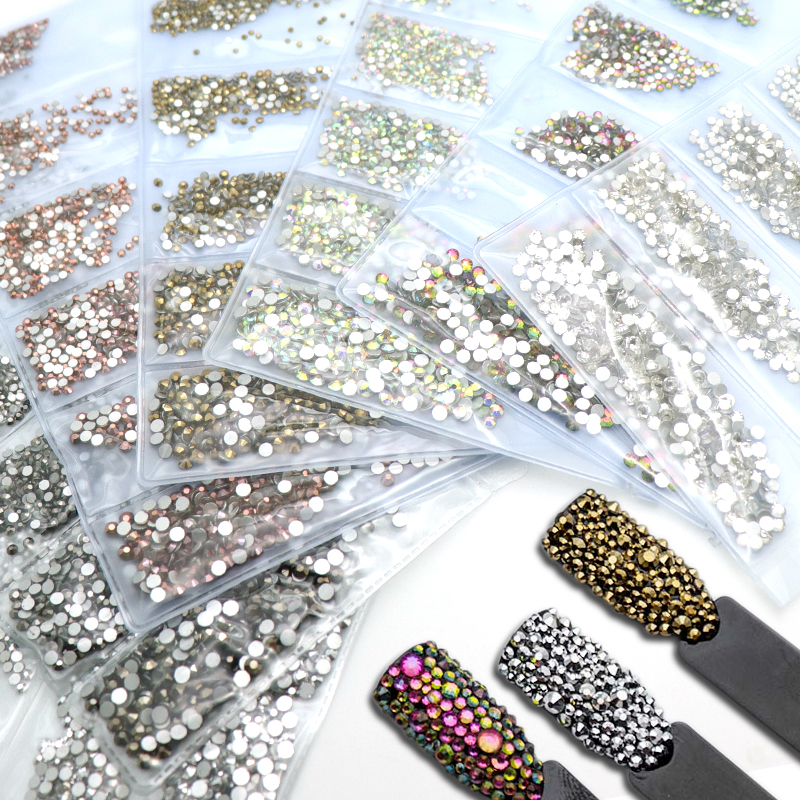 SS3-SS10 Glass Nail Crystals Rhinestones For Charms Nail Art Decoration Partition AB Color Strass Japanese Nail Design