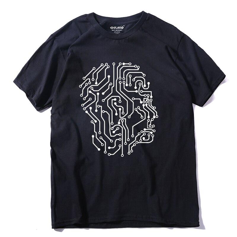 COOLMIND QI0268A 100% cotton summer knitted short sleeve men   T     shirt   casual o-neck men Tshirt cool loose   T  -  shirt   tee   shirt