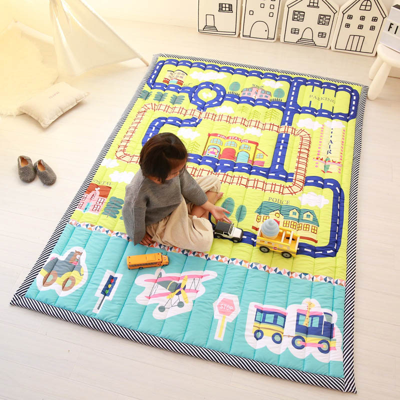 Infantile Brillant Épaississement Bébé tapis de jeu 145x195 CM Non-tapis de glissement Tatami Salon Enfants drone Grand Tapis - 3
