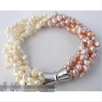 5strands 8 5mm White Pink Baroque Freshwater Pearl Bracelet Noble Style Natural Fine Jewe Fast D