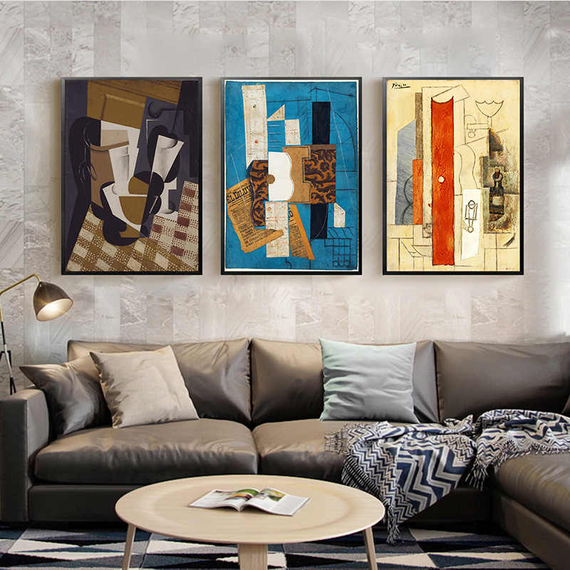 Abstract Violin and Guitar Posters And Prints Cafe Bar Wall Art Canvas Painting Picasso Cubism Wall Pictures For Home Decoration