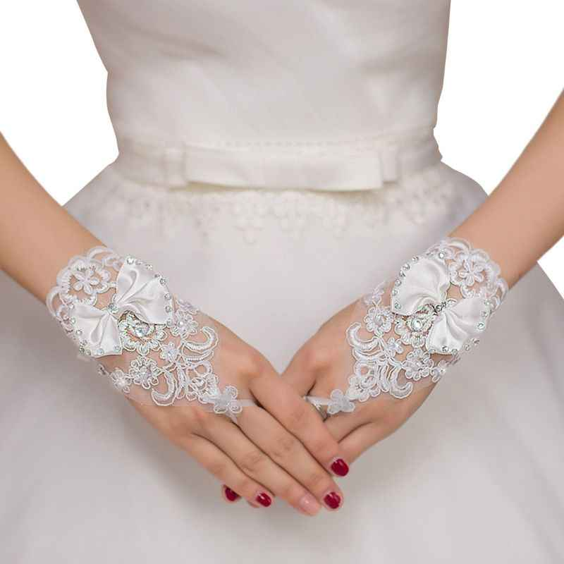 Short Lace-up Tie Glove Fingerless Bride Bridal Summer Wedding Dress Gloves Lace Bow Clothing Accessories