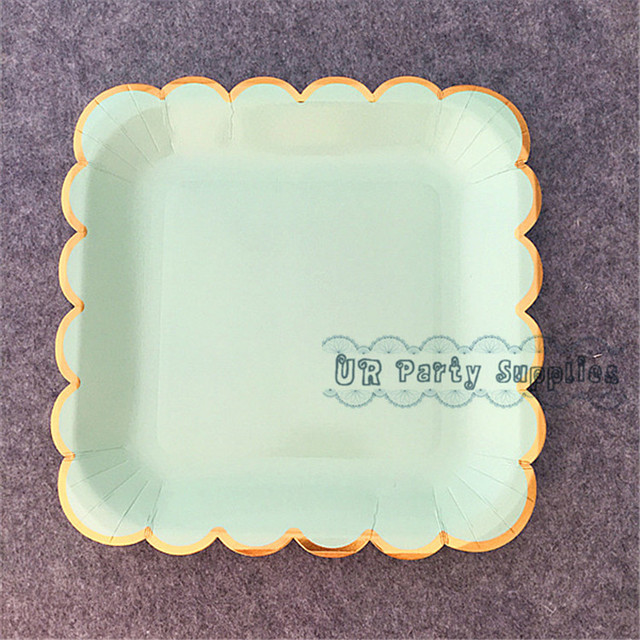 48pcs Pastel Mint Square Wedding Paper Plate Large 23cm Gold Foil Paper Table Decorations Dessert Plates & 48pcs Pastel Mint Square Wedding Paper Plate Large 23cm Gold Foil ...