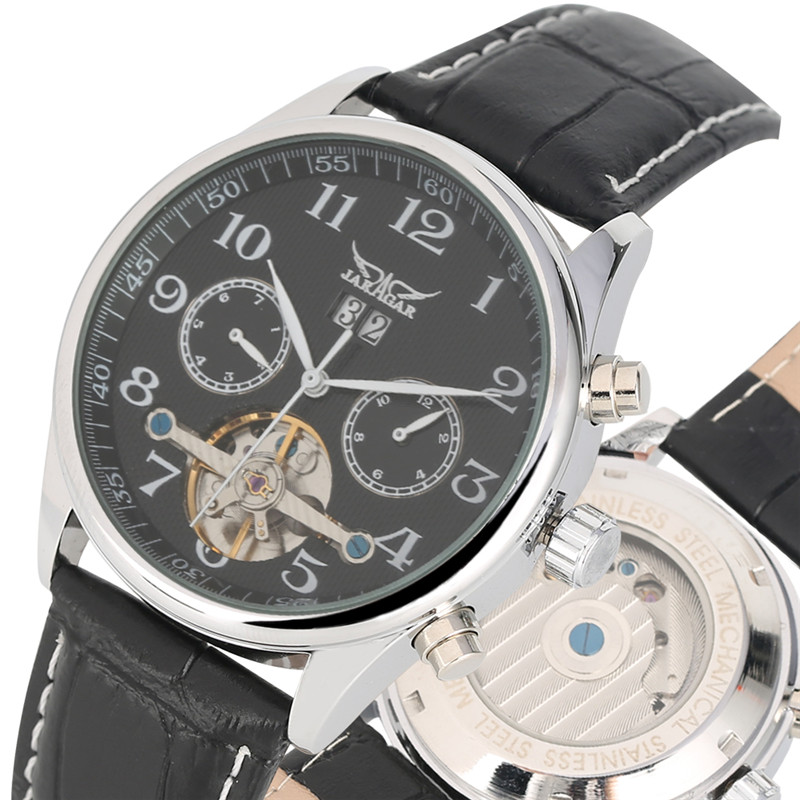 Chic Automatic Skeleton Mechanical Watches Self Wind for Men Special Dial with Calendar Leather Band Mechanical Watch for GenChic Automatic Skeleton Mechanical Watches Self Wind for Men Special Dial with Calendar Leather Band Mechanical Watch for Gen