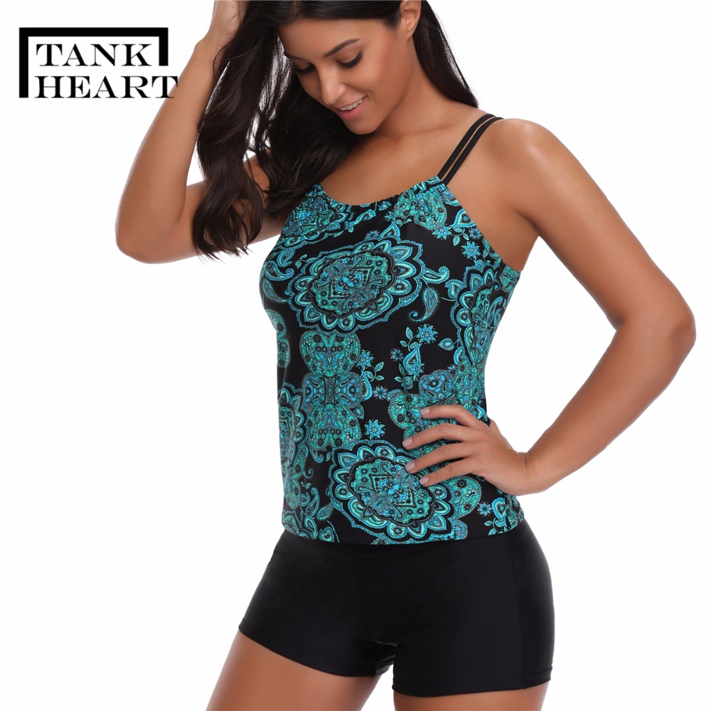 Tank Heart Print Plus size swimwear Women Tankini Shorts High Waist bikini Two Piece Swimsuit Bathing Suit maillot de bain femme ...