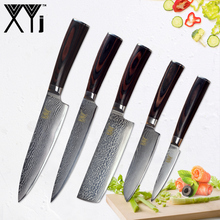 XYj Kitchen Knife Damascus Knives Sets VG10 Core High Quality Japanese Steel Beauty Veins Pattern Cooking Tools