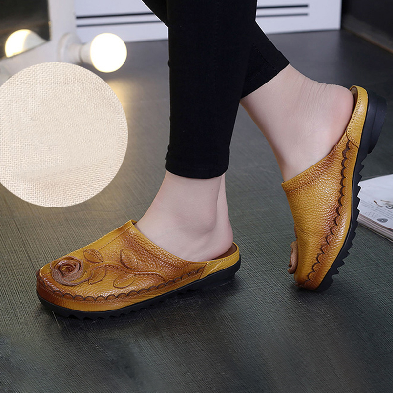 4d3b2a19cb5f Z Women Slippers Summer Sandals Flip Flop Beach Slippers Floral Wedge Women  Shoes Genuine Leather Casual Shoes Women Loafers-in Slippers from Shoes on  ...