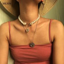 SHIXIN Bohemian Multi Layered Chain Chokers Necklaces for Women Pearl Necklaces with Coin Pendants Necklace 2019 Fashion Jewelry