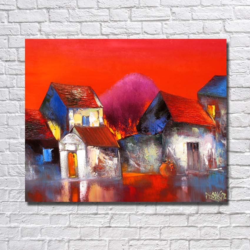 Us 13 52 35 Off Ba Oil Painting 100 Hand Painted Modern Design Knife Canvas Painting Cartoon Red House Oil Paintings On Canvas Art No Framed In