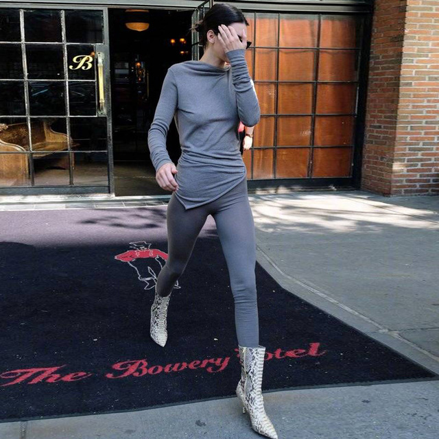 Kendall Jenner Autumn Winter 2019 New Sweatpants high waisted leggings for women 5 colors christmas fitness legging sports 1