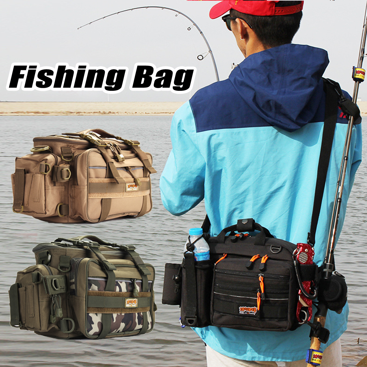 все цены на Large Fishing Bag Water Resistant Backpack Box Waist Shoulder Strap Gear Storage
