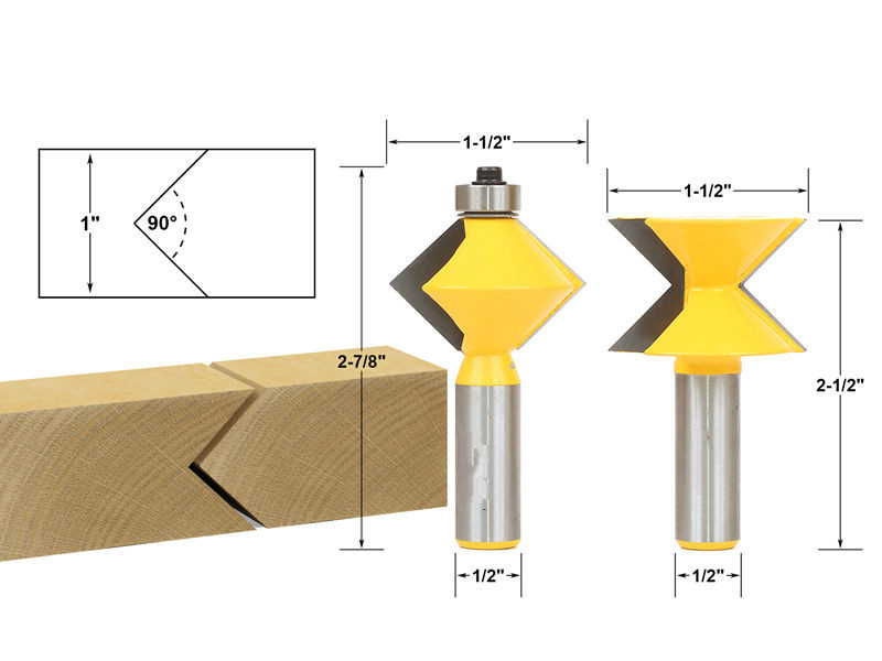 hot sale carbide end mill Edge Banding router bit set V-Design Tongue & Groove - 1/2 Shank milling cutter/milling tools/fresa 2pcs lot matched tongue and groove router bit set edge banding 1 2 shank