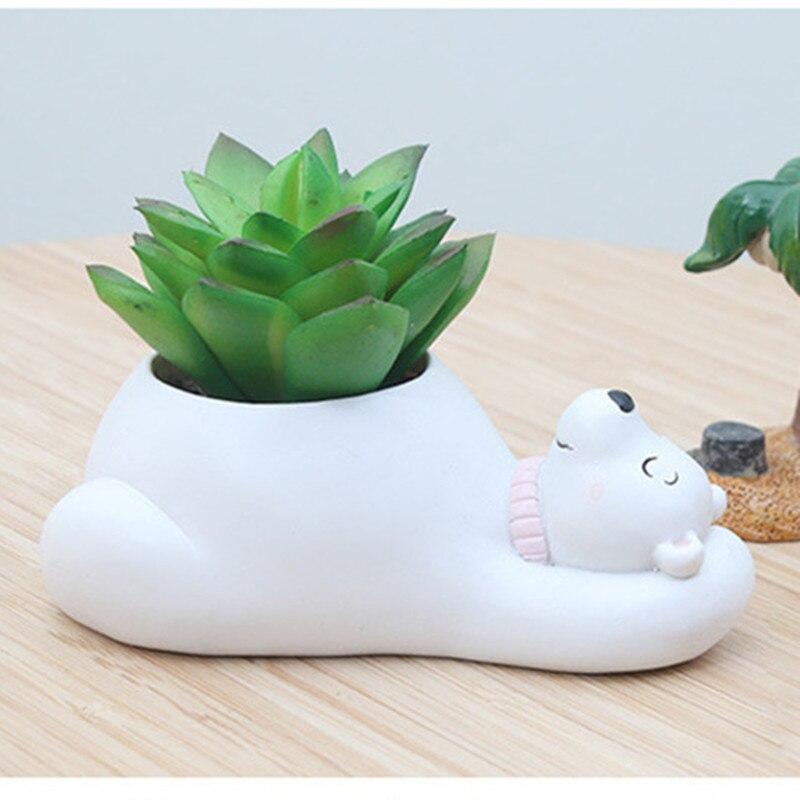 Image 4 - Succulent Plant Pot Cute Animal Flower Planter Flowerpot Create Design Lovely Little Animals Home Garden Bonsai Pots-in Flower Pots & Planters from Home & Garden