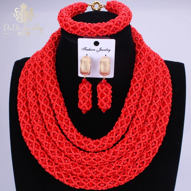 Free Shipping Costume Dubai African Women Wedding Beads Jewelry Set 2016 Hot Red Jewellery Set Christmas Gift Nigerian Necklace