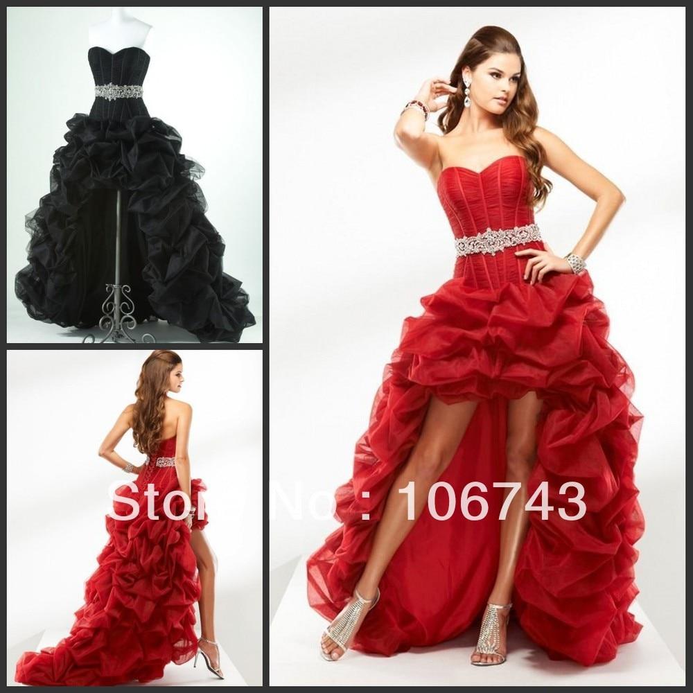 Livraison gratuite nouveau chaud 2013 vestidos mariée robe de soirée robe de bal sexy rouge court après longtemps avant organza robes de bal