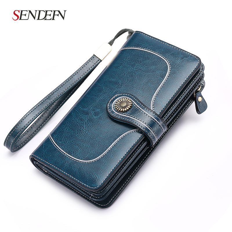 Large Capacity Split Leather Card Holder Quality Wallet Long Women Wallet Zipper Clutch Casual Zipper Retro Purse Women zuoyi crocodile leather original zipper snap multifunctional in large capacity and long wallet