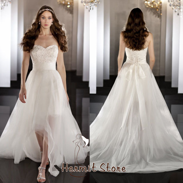 Za0005 Sexy Short Front Long Back Wedding Dress Turkish