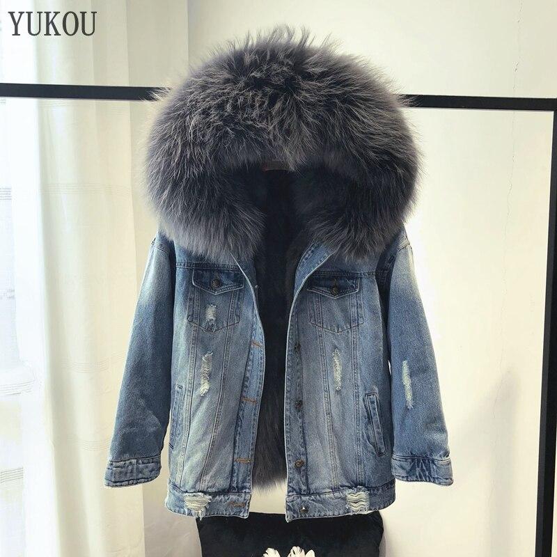 Femmes robe 2018 hiver mode naturel réel renard fourrure Parka veste vraie fourrure grand raton laveur col fourrure vêtements de dessus pour femmes Denim