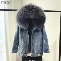 Women Dress 2018 Winter Fashion Natural Real Fox Fur Parka Jacket Real Fur Large Raccoon Collar Fur Female Outerwear Denim