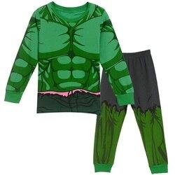 2-8Y Kids Boy Superhero Hulk Spiderman Iron Man Pajamas Sleepwear Clothes Set Child Cartoon Pijamas Children New Year Pyjamas