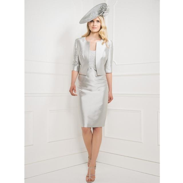 Vestido Parágrafo Madrinha 2016 Decente Sheer Neck Mãe de Prata o Vestido para a Mãe Da Noiva Vestidos com Jacket Lace Applique noiva