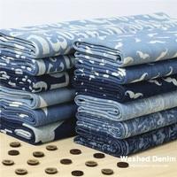 Customized 145cm Width Blue Denim Cowboy Jean Star Dot Number Beard Chiffon Cloth Fabric Shirt Coat