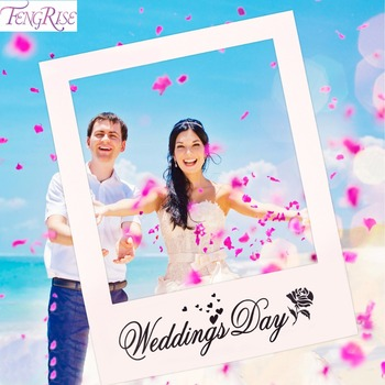 FENGRISE Mr Mrs Just Married Fun Photo Booth Props Bride Groom Wedding Decoration Photobooth Bridal Shower