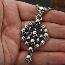 High quality S925 silver Skull Cross Pendant necklace for men Gothic Punk style Thai silver jewelry Hip hop pendants Necklace(China)