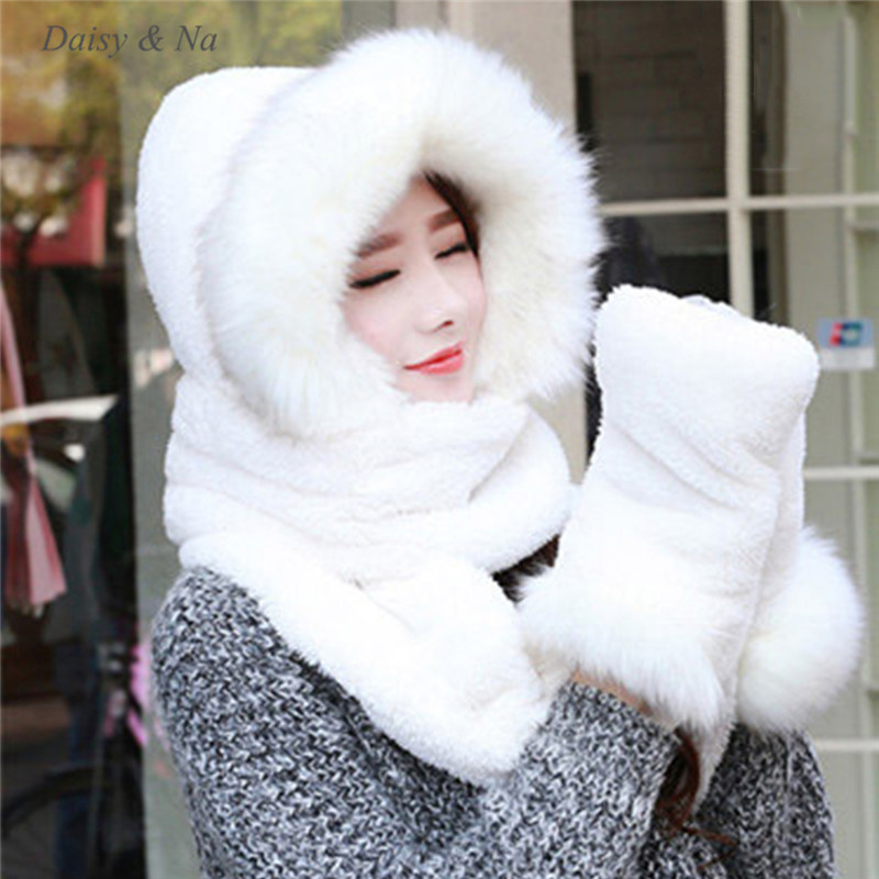 e8ba596d7de3a Women Hat Winter Soft With Long Scarf Mittens Ski Attached Gloves Faux Fur  Hood 061-in Skullies   Beanies from Apparel Accessories on Aliexpress.com  ...
