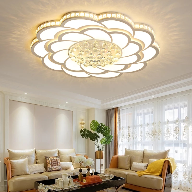 Acrylic Crystal Round Modern led ceiling lights for living room bedroom led lighting fixtures ceiling lamp white finished modern ceiling lights round crystal ceiling lamp led lusters luminaria for balcony entrance lamp plafonnier lighting fixtures