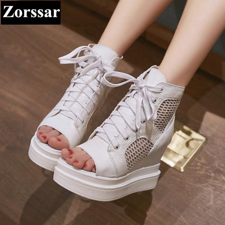 ФОТО Summer shoes Women platform wedges High heels Sport sandals Mesh Breathable Shoes 2017 Fashion Genuine leather womens heels